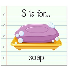 Flashcard letter s is for soap vector