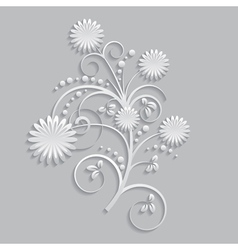 Flowers and floral elements cut from paper vector