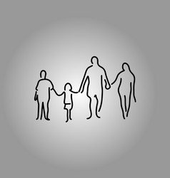four people family holding hand vector image