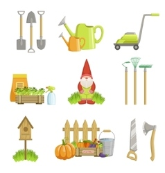 Garden related objects set vector