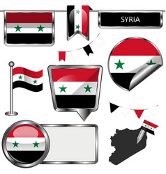 Glossy icons with flag of syria vector
