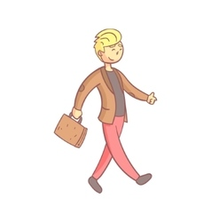 Guy In A Suit Walking To Work vector image vector image