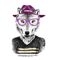 hand drawn wolf hipster vector image vector image