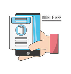 Hand with technology smartphone vector