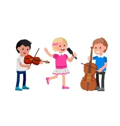 Happy kid playing on contrabass singing dancing vector image vector image