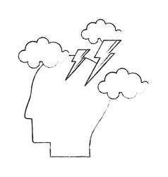 head human brainstorm creativity sketch vector image
