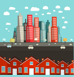 houses with city on background - vector image vector image