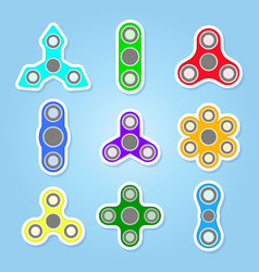 Icons set with fidget spinners vector