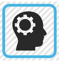 Intellect gear icon in a frame vector