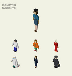 Isometric person set of female lady medic and vector