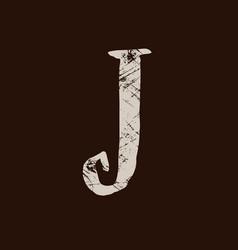 Letter j handwritten by dry brush rough strokes vector