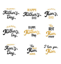 Mothers day lettering calligraphic badges set vector