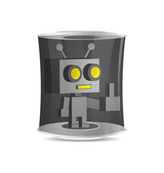 robot in a flask vector image