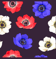 Seamless colorful anemones vector