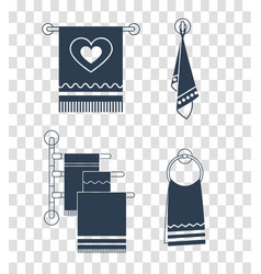 set icons towel rack silhouette vector image vector image