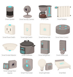 Smart house devices icons set cartoon style vector