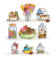 Sweets in cups with different candies and cookies vector