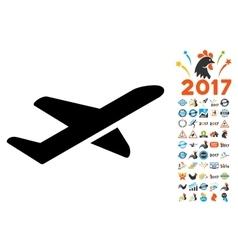 Takeoff Icon with 2017 Year Bonus Symbols vector image