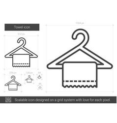 towel line icon vector image vector image