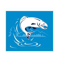 Trout fish jumping with mountains vector