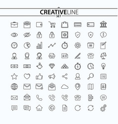 universal thin icons set vector image vector image