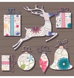 Vintage christmas set on wooden background vector image