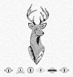 Reindeer head with leaf seamless abstract hand vector