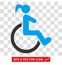 Disabled woman eps icon vector