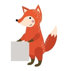 Wild animal fox strike with clean plate board vector