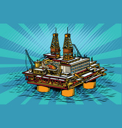 Oil and gas producing offshore platform vector