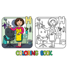 hairdresser coloring book alphabet h vector image