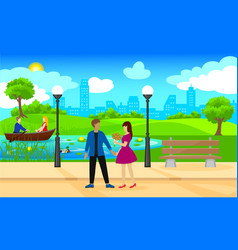 light city park landscape romantic template vector image