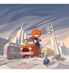 Jack olantern and his orange car vector
