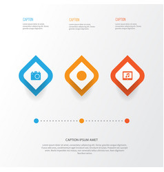 Media icons set collection of tablet camera vector