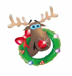 Reindeer in wreath vector