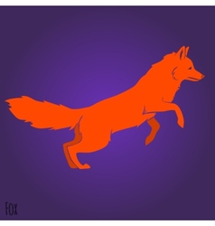 Red jumping fox silhouette vector