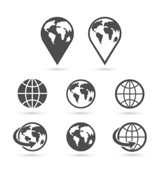 Globe earth icons set isolated on white vector