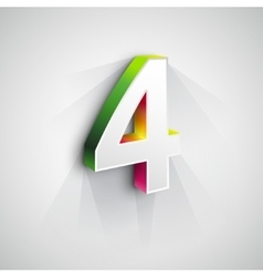 3d number four vector