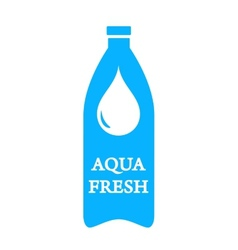 Aqua fresh icon with bottle and water drop vector