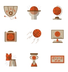 Colored basketball flat icons set vector image