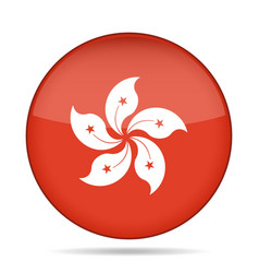 Button with flag of hong kong vector