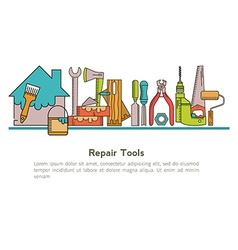 Set of linear icons construction tools vector