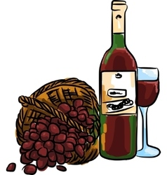 Red grape with bottle red wine and vector