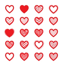 Hand drawn heart set vector