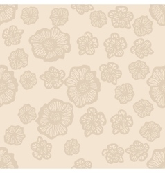 Beige and light brown seamless flower pattern vector