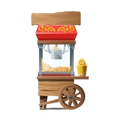 Vintage wooden machine for making popcorn vector