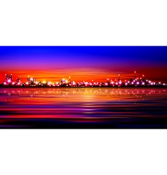 Abstract pink sunset background with silhouette of vector