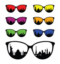 Ancient famous monument on sunglasses vector