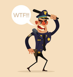 angry screaming policeman character vector image vector image