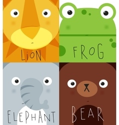 Animal muzzles lion frog elephant bear vector image vector image
